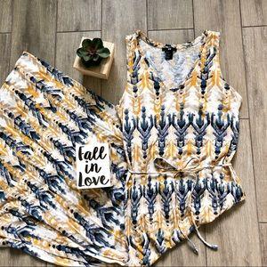 H&M Maxi Dress V Neck Sleeveless Aztec Gold Yellow